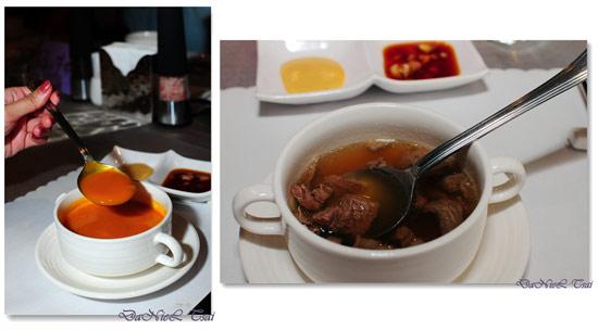 南瓜濃湯跟牛肉清湯