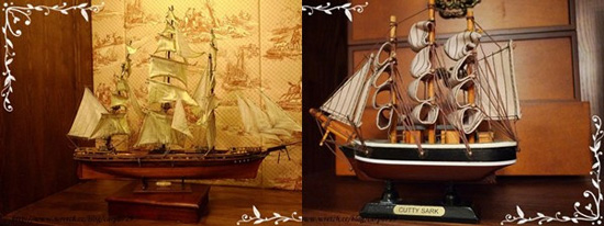 旁邊展示著1869年的運茶船模型,這間店「卡提撒克」取名自紅茶黃金時代之「卡提撒克號」運茶船。