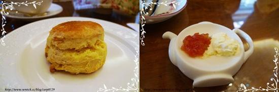 國王司康,有原味和白巧克力橘皮兩種口味,配的是番茄蘋果香草梓果醬和鮮奶油。