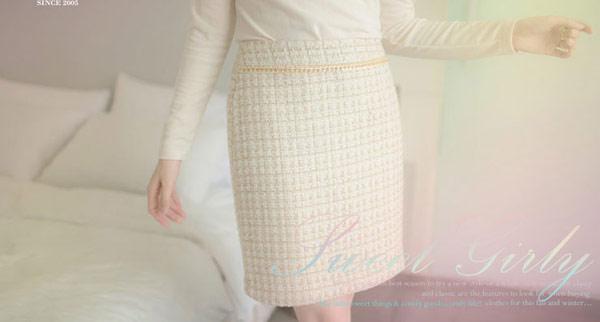 ☆東京著衣☆【YOCO】Korea正韓•金鍊格軟呢鉛筆裙