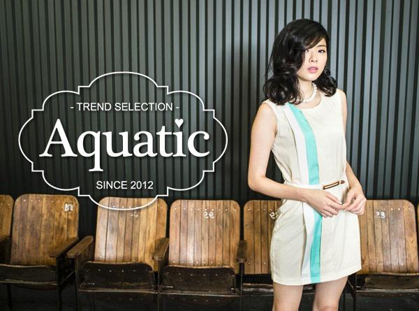 【Aquatic】撞色拼接合身洋裝
