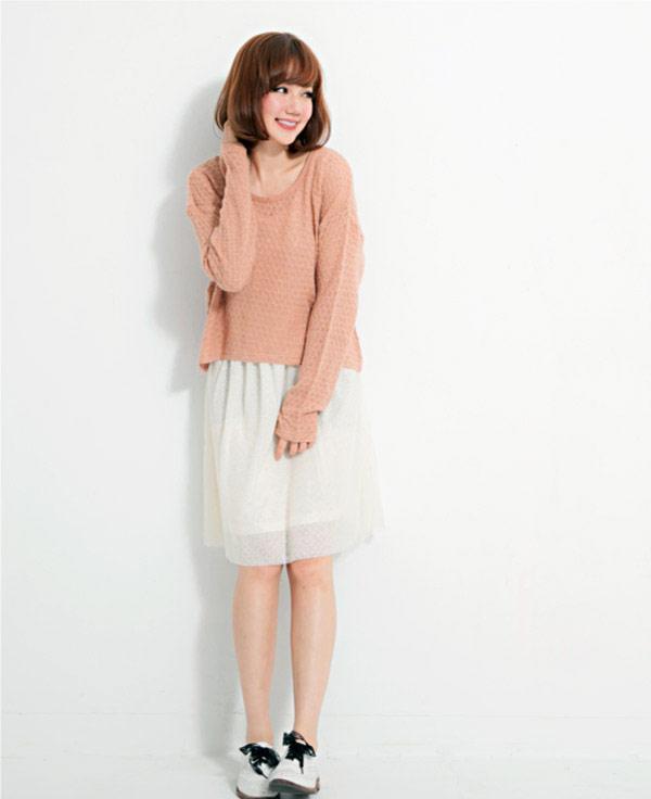 【THE EMPORIUM】素面針織兩件式網紗連身裙
