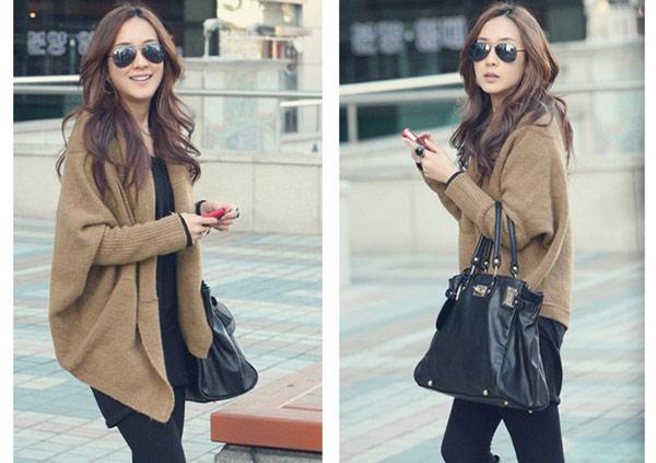 美麗大街韓版蝙蝠袖毛衣開衫燕尾式純色毛衣外套