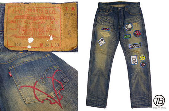 日版 LEVI'S 水洗破壞格紋反折牛仔褲
