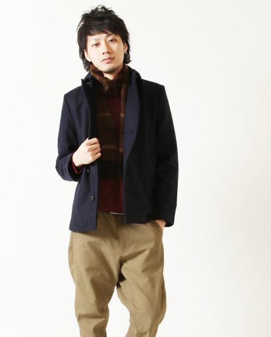 墨爾登羊毛單排釦外套