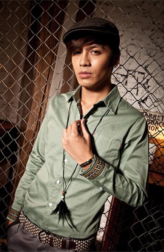 韓版型男民族風袖口素面長袖襯衫