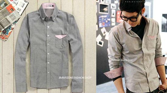 韓國時尚粉紅鑲邊立體修身窄版長袖襯衫