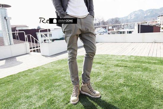 時尚簡約風格素面兩側加大口袋修身小飛鼠哈倫褲