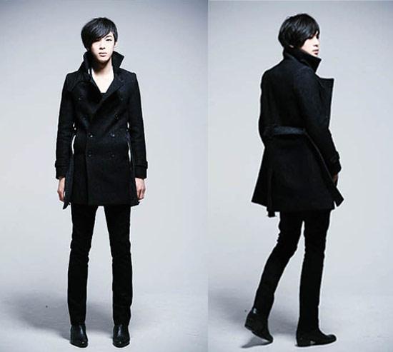 立領翻領兩穿雙排釦腰帶修身窄版長大衣