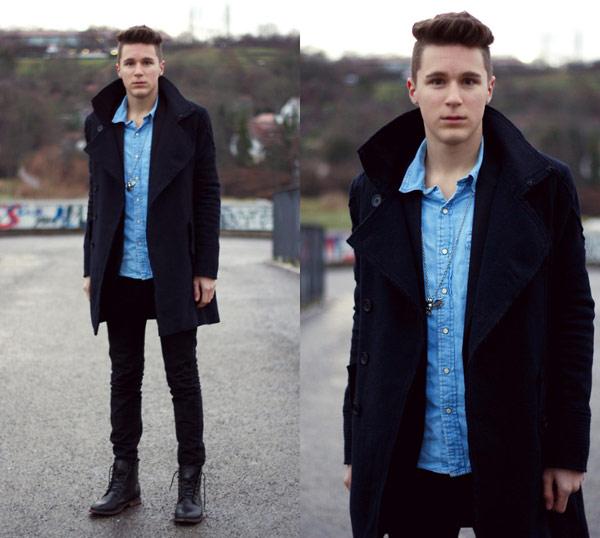 翻領風衣,翻領大衣,深色長大衣,英倫風大衣,長版風衣外套
