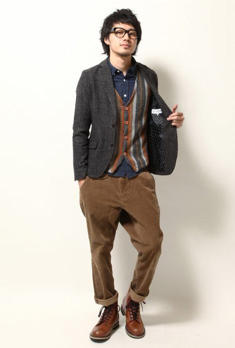 人字紋西裝外套,ZIP西裝外套,獵裝外套,日本進口,跨年派對服裝,跨年dress code,燈芯絨長褲
