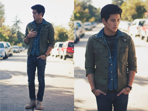 軍裝襯衫,丹寧牛仔襯衫,軍裝混搭,休閒襯衫,軍裝風衣