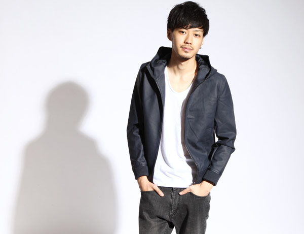 連帽皮衣 窄短版&小版 上下拉鍊 PU皮革 仿麂皮 ZIP日本男裝