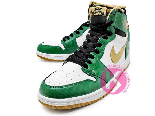 1985 年經典復刻款 九孔鞋洞 2013 鞋舌 NIKE LOGO 標籤 NIKE AIR JORDAN 1 RETRO HIGH OG BOSTON CELTICS 綠白金