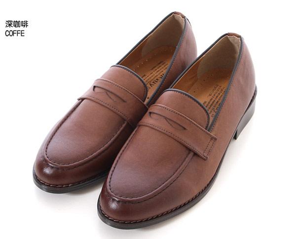 紳士鞋【Sample】韓國製,復古焦糖色質感硬皮革樂福跟鞋