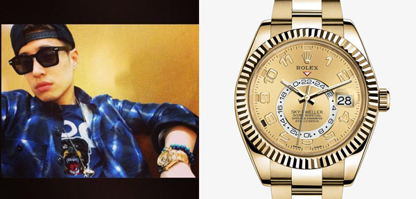 ▲復古回歸體現在嘻哈風當中,看見誇張華麗的金色配件抬頭,當驚呼完酷帥的潘瑋柏後,你也無法忽略他手上的大金錶,仔細看,經典三角坑紋外圈,雙時區顯示配一個偏心24小時盤,閃耀金光的名貴高雅質感,不就是勞力士(Rolex) 蠔式腕錶系列之 Sky-Dweller,不低調的展現氣派豪邁。(合成圖/左圖截自潘瑋柏臉書粉絲團,右圖截取自勞力士官網)