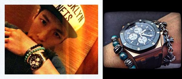 ▲愛彼錶深受名人喜愛,新生代演員柯震東,佩戴皇家橡樹離岸型玫瑰金計時碼錶。強悍豪邁的出色外型、將力與美、精湛技術以及絕佳性能融合在腕錶上,打造出尊貴運動腕錶。(合成圖/截自柯震東臉書粉絲團)