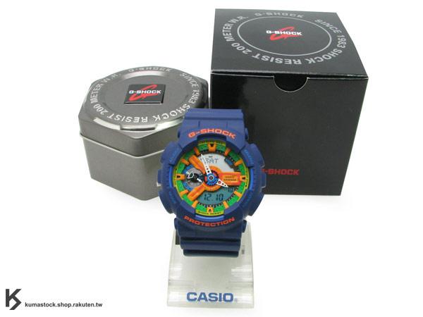 日本限定款CASIO G-SHOCK GA-110FC-2ADR 深藍橘 橘綠黃錶面霧面錶帶
