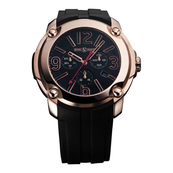 【STEELCRAFT】瑞士紳士計時腕錶-黑x金框