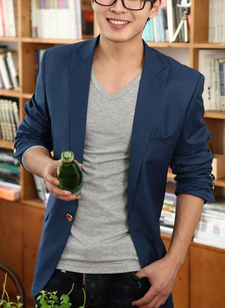 ▲☆TOXO☆ 韓版 獨家熱銷 春裝上市 修身 英倫風 一粒扣 版型好看 藍色 西裝外套