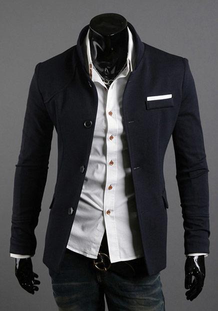 ▲立領修身型男西裝外套