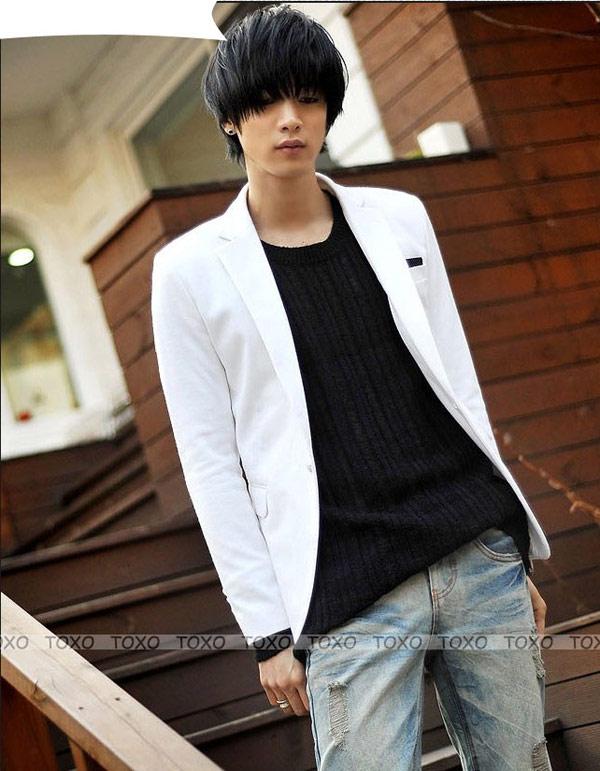 ▲☆TOXO☆ 韓版 新上市 白色款 簡約大方 雅痞型男最愛 修身百搭 西裝外套