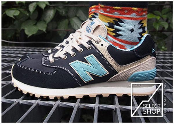 ▲New Balance NB 574 ML574OSB 黑色麂皮藍色復古衝浪系列 桑麻花 小碎花系列