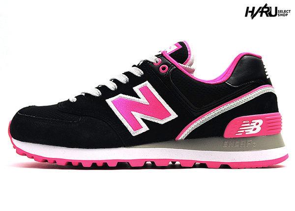▲New Balance 574 WL574SJE 2014 刺繡 N字 麂皮 皮革 對比 外框 黑白粉紅 黑粉紅 女鞋