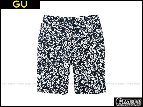 ▲【EST ORDER】UNIQLO x g.u. GU 男款花圖騰五分褲