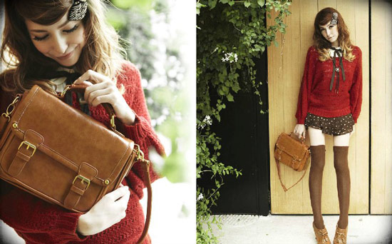 今年秋冬一樣很流行紅色單品以及學院風的包包