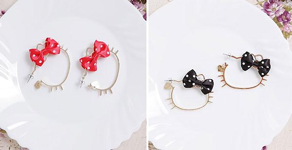 【Vivitix】緞面水玉Ribbon?Kitty造型耳環(紅、黑兩色)