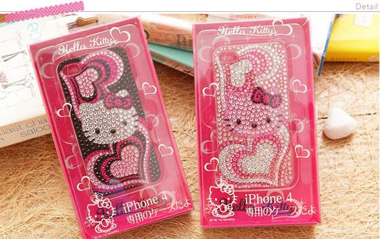 【Vivitix】Kitty愛心水鑽透明iPhone4保護盒(黑、粉兩色)