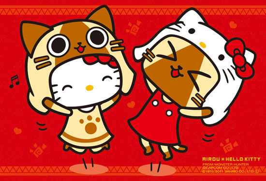 魔物獵人艾路貓AIROU×三麗鷗凱蒂貓HELLO KITTY的雙貓聯名。