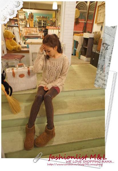 E.Ya膝蓋拉鍊設計咖啡色系仿舊內搭褲