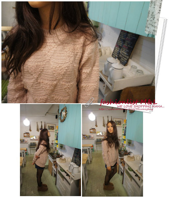 ∥E.Ya∥ 韓QQ捲捲織法倒三角形厚暖圓領毛衣
