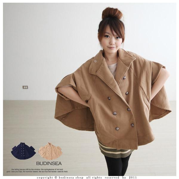 英倫斗篷感~雙排釦小立領側口袋厚毛料西裝外套