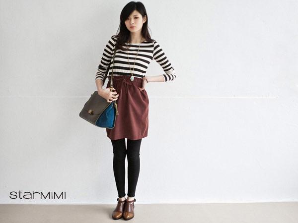 腰間抓皺加上略微A字裙的剪裁設計能顯出腰身。