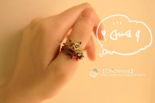 閃耀雙朣可愛立體貓咪戒指組(銅色)