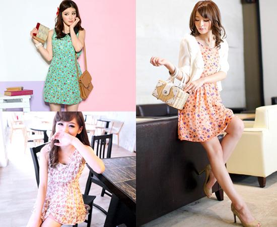 東京著衣,流行女裝,裝飾領,小碎花,洋裝