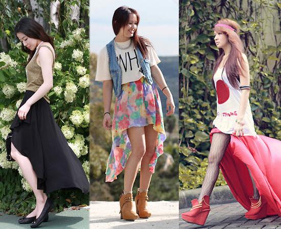 雪紡紗,長裙,前短後長,流行女裝,裙子