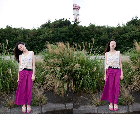 棉裙,長裙,裙子,亮色,女裝