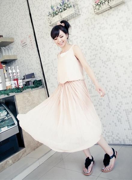 雪紡紗,長洋裝,長裙,裙子,背心裙