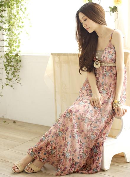 雪紡紗,小碎花,長洋裝,長裙,連身裙