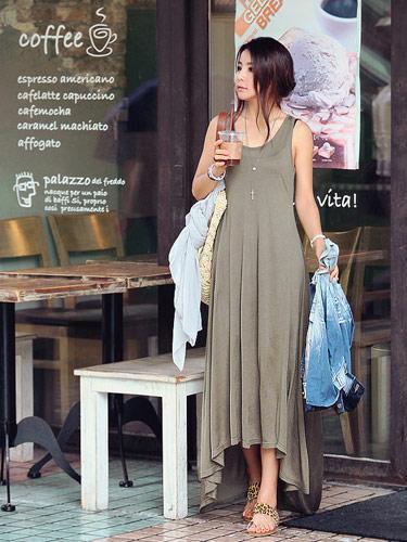 日系,長洋裝,前短後長,背心裙,vivi雜誌