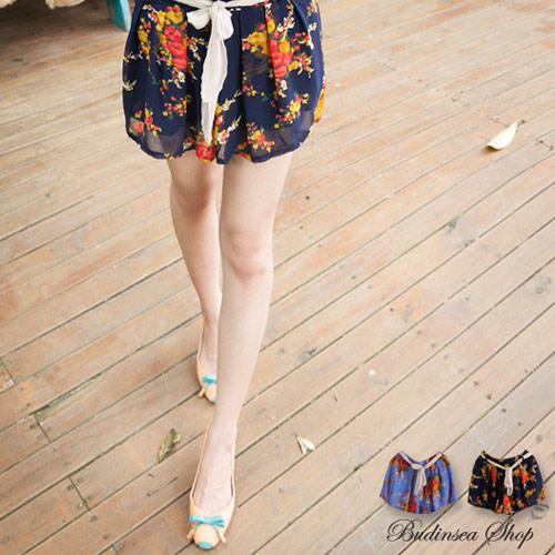 日系,碎花,印花,褲裙,雪紡紗
