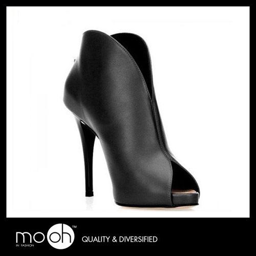 mo.oh (歐美鞋款) 黑色V口魚嘴防水台後拉鏈顯瘦短靴真皮貝殼鞋