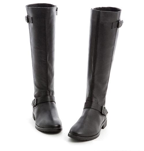 Sonya Sissel‧率性顯瘦皮革金釦長靴(黑色)