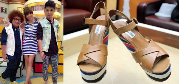 ▲吳怡霈穿上美國品牌STEVE MADDEN海軍風楔型鞋。(合成圖/左截取自吳怡霈臉書粉絲團,右圖為記者林調遜 攝)