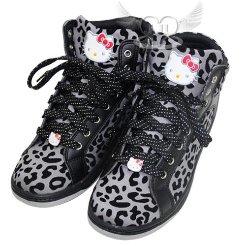 HELLO KITTY豹紋高筒鞋子布鞋休閒鞋