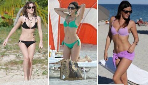 ▲單色系的比基尼率性又時尚,不同顏色則能呈現出不同風格,相當受歐美女星與超模喜愛,是女孩們在夏日前往海灘必備品。(左圖/艾瑪華森,取自艾瑪華森臉書粉絲專頁;右圖一、二/超模克勞迪婭羅姆,取自克勞迪婭羅姆Instagram)